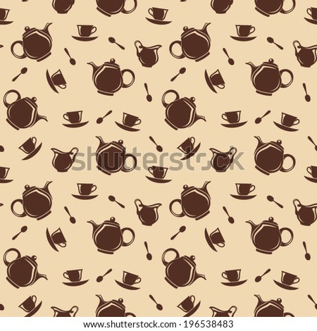 Seamless background with teapots and cups. Vector illustration. - stock vector