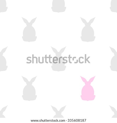 seamless background with the silhouette of  grey and pink  rabbits back - stock vector