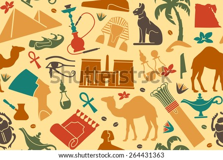 Seamless background with traditional symbols of Egypt - stock vector