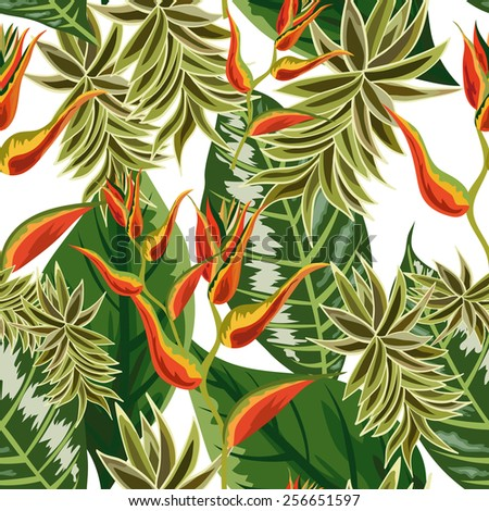 Seamless background with tropical leaves and flowers - stock vector