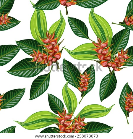 Seamless background with tropical tropical leaves and flowers - stock vector