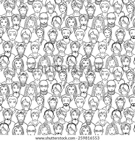 seamless background with unrecognizable men and women faces - stock vector