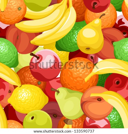 Seamless background with various fruits. Vector illustration. - stock vector