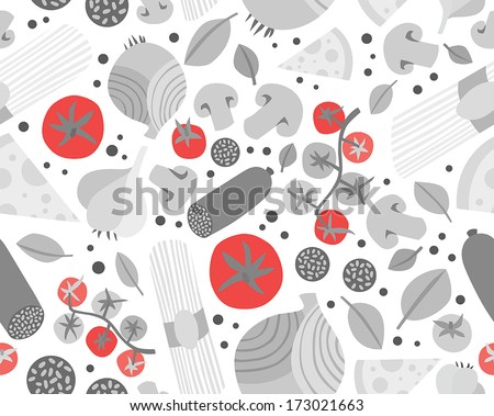 Seamless Background with Various Groceries: Pasta, Vegetables, Salami and Mushrooms - stock vector