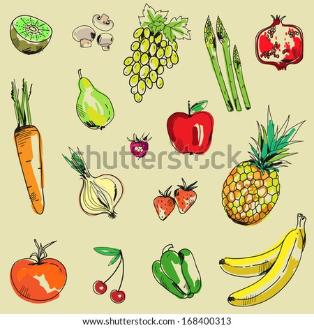 Seamless background with vegetables and fruit in vector - stock vector