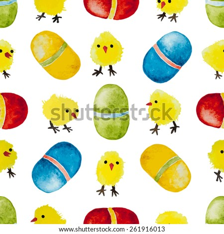 Seamless background with watercolor chickens and eggs. Happy Easter day vector pattern. Perfect for greetings, invitations, manufacture wrapping paper, textile, web design. - stock vector