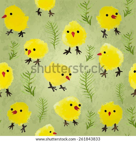 Seamless background with watercolor chickens and grass. Happy Easter day vector pattern. Perfect for greetings, invitations, manufacture wrapping paper, textile, web design. - stock vector