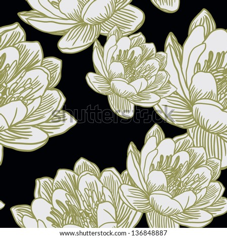 Seamless background with waterlilies - stock vector