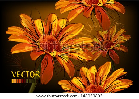 seamless background with yellow daisies - stock vector