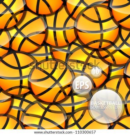 Seamless basketball glossy orange ball sticker texture eps10 vector pattern - stock vector