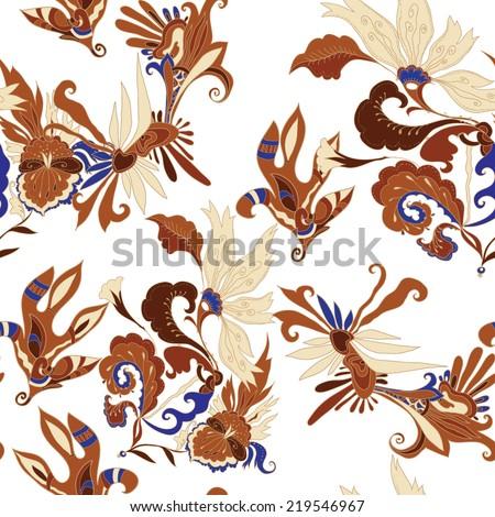 Seamless batik pattern - stock vector