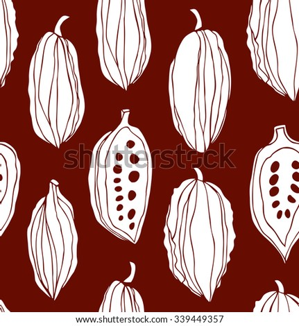 Seamless beauty pattern with cocoa beans. Decorative vector monochrome chocolate background - stock vector