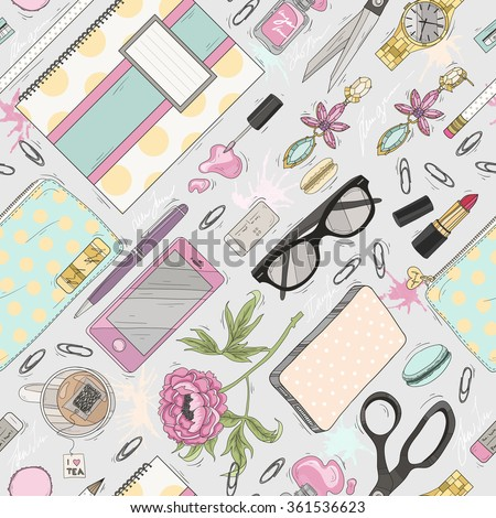 Seamless beauty pattern with make up, nail polish, flowers, jewelry, notebook, pen. Background for girls or women. Cute seamless office pattern. - stock vector