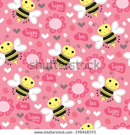 seamless bee and flower pattern vector illustration - stock vector