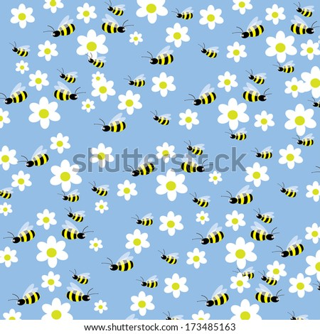 Seamless bees and flowers pattern - stock vector