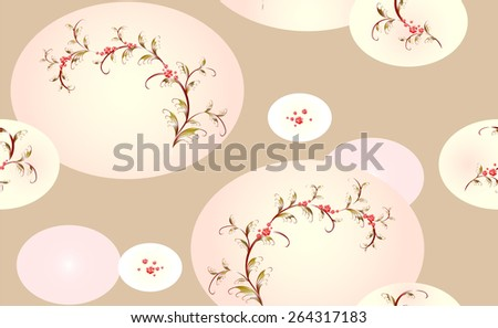Seamless beige background with branches of pink flowers. EPS10 vector illustration. - stock vector