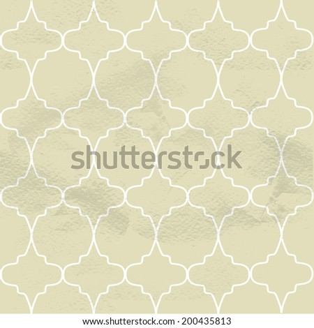 Seamless beige grungy vintage pattern from the ornamental openwork lattice - stock vector