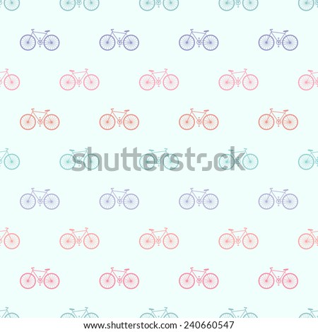 Seamless Bicycle Pattern Vector - stock vector