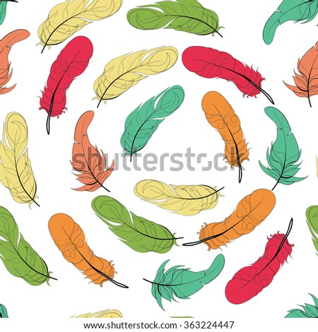 Seamless bird feather vector pattern background. Endless colorful texture. Yellow green orange red feathers on white - stock vector
