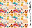 seamless birthday pattern - stock vector