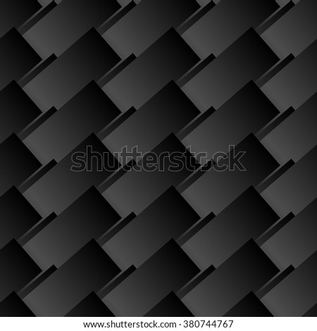 Seamless black abstract modern pattern created from rectangle intersections - stock vector