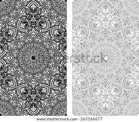 seamless black and white abstract eastern detailed vector abstract pattern - stock vector