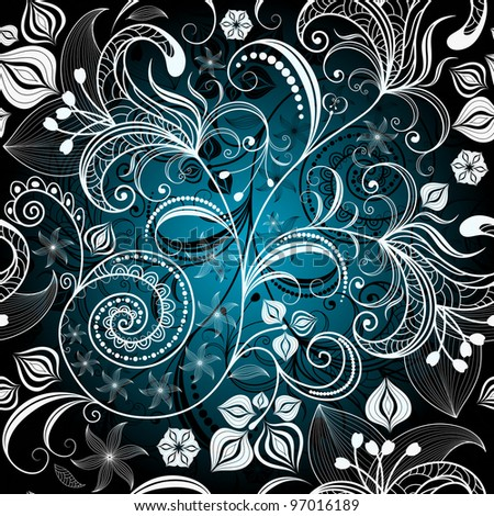 Seamless black and white-blue floral pattern with vintage flowers (vector) - stock vector