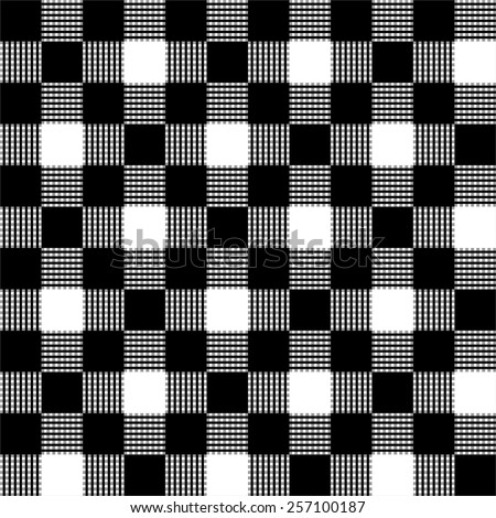 Seamless black and white checkered tablecloth pattern  - stock vector