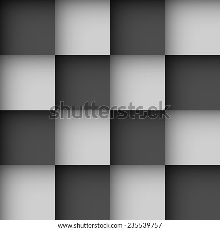 Seamless black and white checks wallpaper pattern with shadow effect. - stock vector