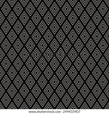 seamless black and white diamond outline pattern. - stock vector