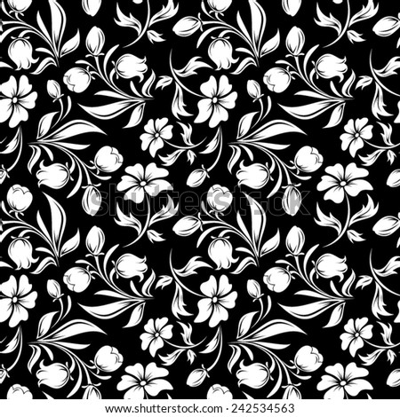 Seamless black and white floral pattern. Vector illustration. - stock vector