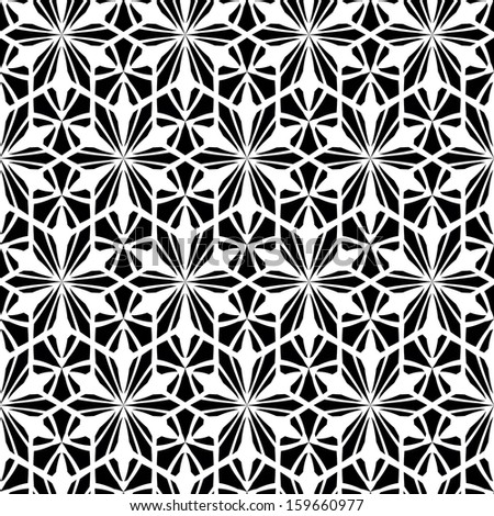 Seamless black-and-white geometric pattern. Vector abstract illustration. - stock vector