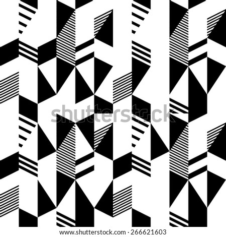 Seamless black and white pattern in retro bauhaus style - stock vector