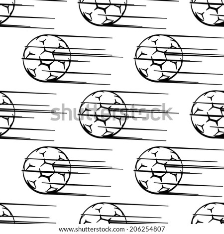 Seamless black and white pattern of soccer balls or footballs with motion trail flying through the air in square format for sporting design - stock vector