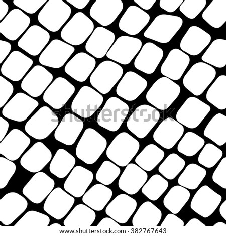 Seamless black and white pattern with paving stone - stock vector