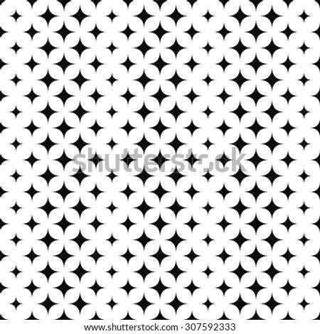 Seamless black and white star pattern - stock vector