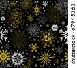 Seamless black christmas wallpaper with white and golden  snowflakes (vector) - stock vector