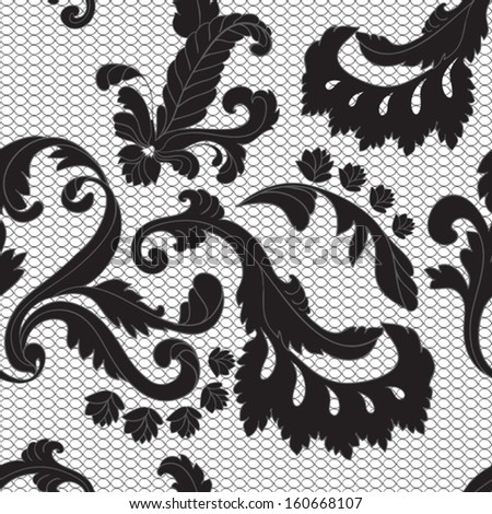 seamless black lacy pattern - stock vector