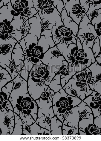 Seamless black rose pattern - stock vector