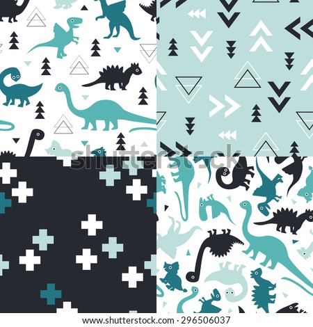 Seamless blue and mint kids geometric dino triangles and dinosaur plus sign cross illustration background collection pattern in vector - stock vector