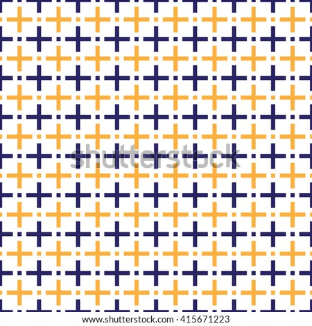seamless blue and orange plus sign pattern, vector illustration. - stock vector