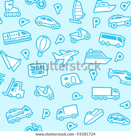 Seamless blue background, white transport icons - stock vector