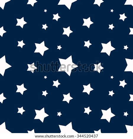 Seamless blue background with white stars - stock vector