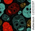 Seamless Blue, Black and Red background with skulls - stock vector