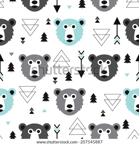 Seamless blue black white geometric pastel grizzly bear illustration and arrow background pattern in vector - stock vector