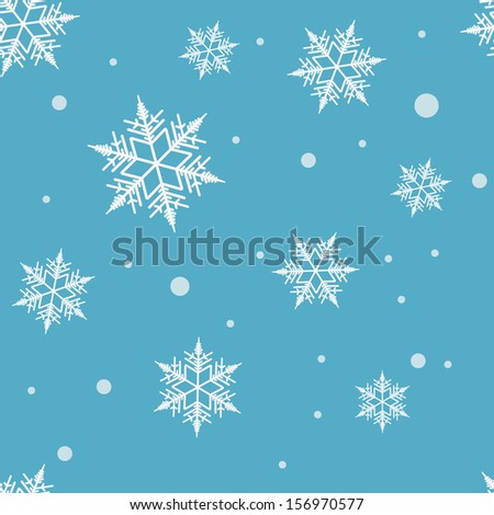 Seamless blue christmas pattern with snowflakes. Vector illustration. - stock vector