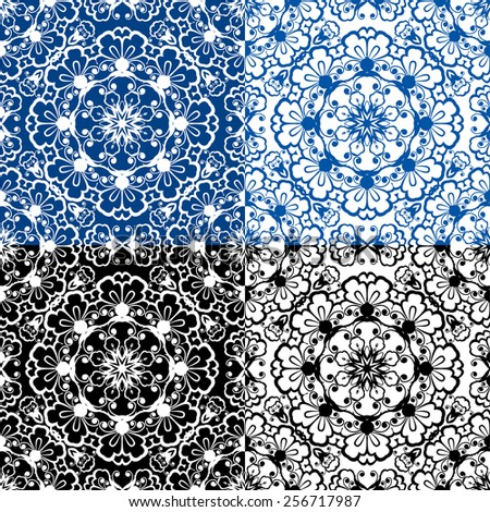 Seamless blue color and black and white floral patterns. Ornamental Background.  - stock vector