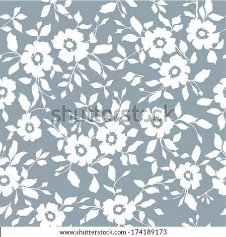 Seamless blue floral  background - stock vector