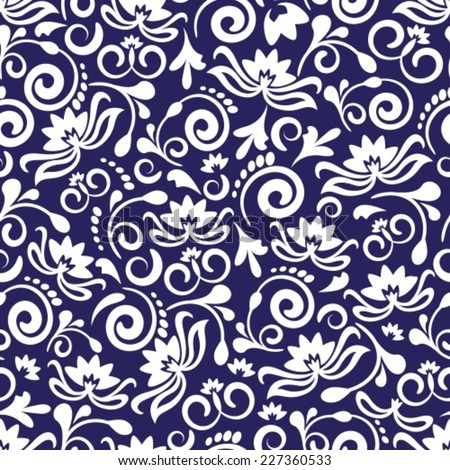 seamless blue floral pattern with abstract flowers and curls - stock vector