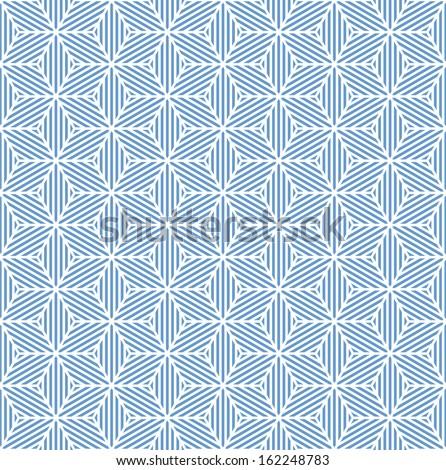 Seamless blue geometric texture. Striped diamonds pattern. Vector art. - stock vector